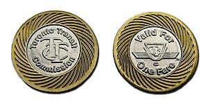 Toronto Transit Commission - Obverse and reverse of Toronto Transit Commission single-ride token