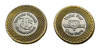 Toronto Transit Commission - Obverse and reverse of Toronto Transit Commission single-ride token