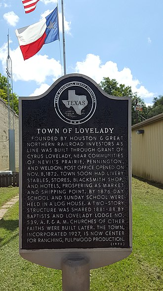 Lovelady, Texas - Historical Marker of the City of Lovelady