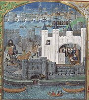 The 15th century Tower in a manuscript of poems by Charles, Duke of Orléans (1391-1465) commemorating his imprisonment there (British Library).