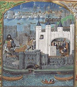 The Tower of London housed England's royal menagerie for several centuries (Picture from the 15th century, British Library). Towrlndn.JPG