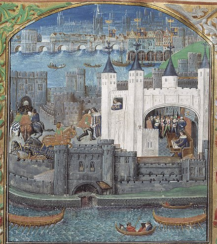 One of the powerful French magnates held in the Tower during the Hundred Years' War was Charles, Duke of Orleans, the nephew of the King of France. This late 15th-century image is the earliest surviving non-schematic picture of the Tower of London. It shows the White Tower and the water-gate, with Old London Bridge in the background. Towrlndn.JPG