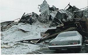 San Bernardino train disaster - Destroyed house on Duffy St.
