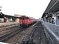 Train of Gantoku Line arriving at Iwakuni Station.jpg