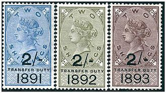 Revenue stamps of the United Kingdom - 1891, 92 and 93 Transfer Duty key type revenue stamps of the United Kingdom.