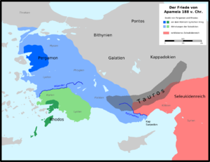 Treaty of Apamea - Map of Asia Minor after the Treaty of Apamea, with the gains of Pergamon (light blue) and Rhodes (light green)