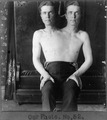 Trick photography of a man with two heads.tif