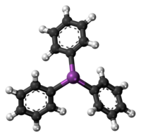 Ball-and-stick model of the triphenylstibine molecule