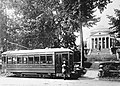 Trolley in front of The Rotunda at the University of Virginia.jpg