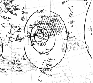 1932 Atlantic hurricane season - Image: Tropical Storm One Analysis 9 May 1932