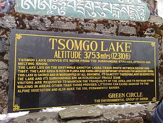 Lake Tsomgo - Sign for Tsomgo Lake