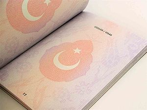 Turkish passport - A page from a Turkish biometric passport