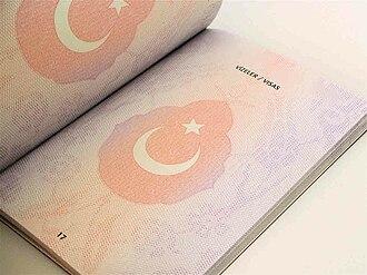 Turkish passport - A page from a Turkish biometric passport