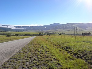 Amathole Mountains - Tyhume valley and the view to the Hogsback pass in the mountains.