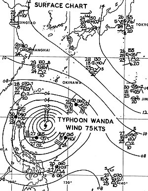 Typhoon Wanda (1962) - Surface weather analysis of Typhoon Wanda northeast of Philippines