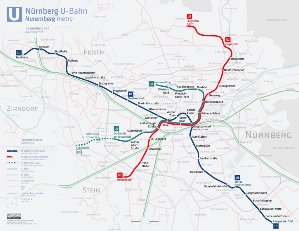 U-Bahn Nürnberg Linienplan