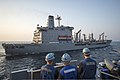 U.S. Sailors assigned to the amphibious transport dock ship USS Denver (LPD 9) stand by before conducting a replenishment at sea with the fleet replenishment oiler USNS Rappahannock (T-AO 204) in the East China 140327-N-ZU025-006.jpg