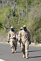 U.S. Soldiers assigned to the 525th Military Police Battalion (MPB) and deployed with Joint Task Force (JTF) Guantanamo walk down a road while wearing their mission oriented protective posture chemical suits 100825-N-QU233-095.jpg
