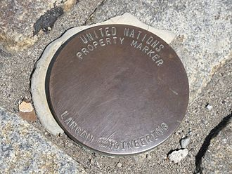 Boundary (real estate) - A property marker outside the United Nations building in New York City.