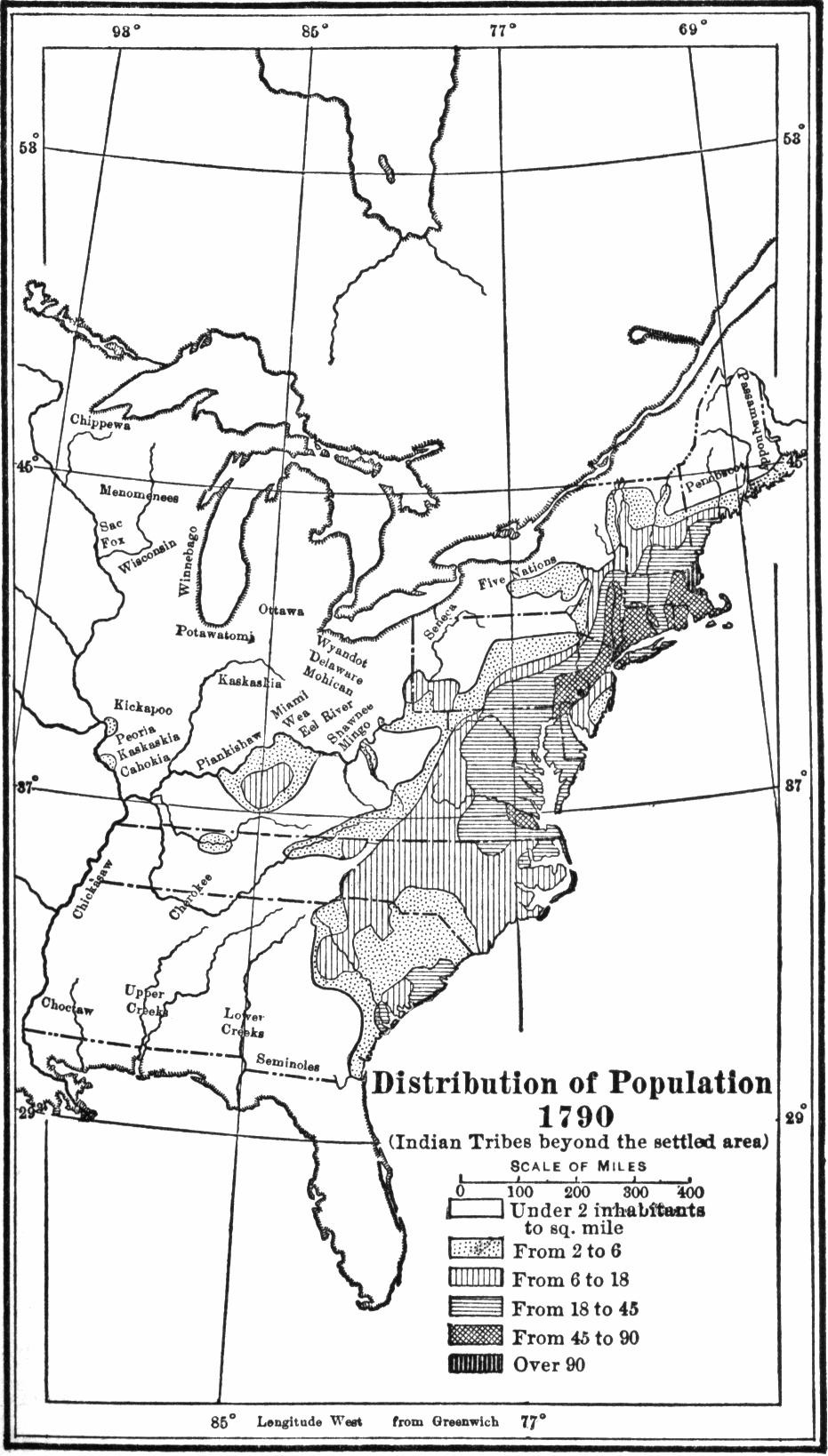 USA population distribution 1790