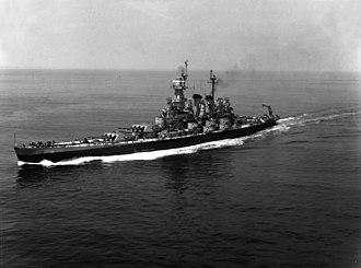 USS North Carolina (BB-55) - Image: USS North Carolina (BB 55) underway at sea on 3 June 1946 (NH 97267)