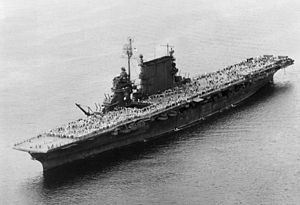 Operation Magic Carpet - Image: USS Saratoga (CV 3) during last Magic Carpet run 1945