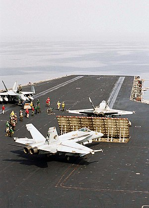 Jet blast - Image: US Navy 030405 N 9951B 021 Two F A 18 Hornets prepare to launch