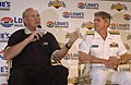 US Navy 030522-N-5862D-112 Terry Bradshaw, well-known television sportscaster and professional football legend debuts the U.S. Navy-sponsored Busch Series race car with Rear Adm. David Crocker, Commander, Operational Test and E.jpg