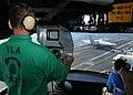 US Navy 030912-N-6187M-002 nterior Communications Electrician' 3rd Class Michael P. Gray Jr., from Troy, Ill., mans the Platform Camera.jpg