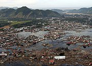 A village near the coast of Sumatra, Indonesia, devastated after the tsunami