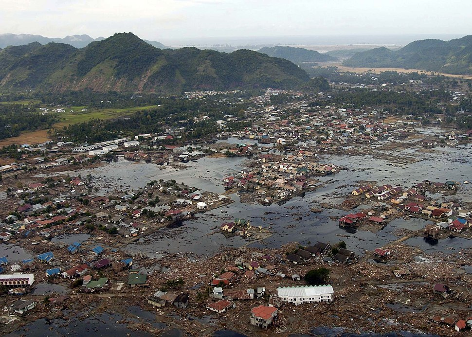 US Navy 050102-N-9593M-040 A village near the coast of Sumatra lays in ruin after the Tsunami that struck South East Asia