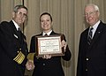 US Navy 050224-N-7281D-079 Vice Adm. LaFleur, left, and Vice Adm. (Retired) John Nyquist present Yeoman 1st Class Jessica R. Christiansen a certificate for being chosen COMNAVSURFPAC 2005 Sailor of the Year.jpg