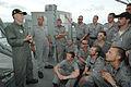 US Navy 050607-N-5781F-162 Commander Carrier Strike Group Five (CVW-5) Rear Adm. Jamie D. Kelly, left, visits with the crew of Royal Australian Navy frigate HMAS Canberra (FFG 02).jpg
