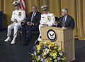 US Navy 050722-N-0295M-007 Secretary of the Navy Gordon England gives his address at the Chief of Naval Operations change of command ceremony. Adm. Mike Mullen relieved Adm. Vern Clark as Chief of Naval Operations (CNO).jpg