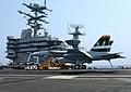 US Navy 050728-N-5345W-053 A F-A-18F Super Hornet prepares for an arrested landing aboard the Nimitz-class aircraft carrier USS Harry S. Truman (CVN 75).jpg