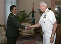 US Navy 071121-N-8623G-081 Adm. Timothy J. Keating, commander of U.S. Pacific Command, and the chief of staff of the Maldives National Defense Force of the Republic of Maldives greet each other prior to an office call.jpg