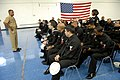 US Navy 081110-N-9818V-186 Master Chief Petty Officer of the Navy (MCPON) Joe R. Campa Jr. takes a question during an all-hands call with Sailors from the Navy Operational Support Center (NOSC), Bronx and Amityville.jpg