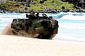 US Navy 100708-M-9232S-016 A Marine amphibious assault vehicle embarked transitions ashore during a mechanized raid rehearsal on Pyramid Rock Beach at Marine Corps Base Hawaii during Rim of the Pacific (RIMPAC) 2010 exercises.jpg