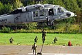 US Navy 100917-A-0629C-046 Special operations forces soldiers from Lithuania, Poland, and the U.S. conduct fast rope training from a U.S. Navy MH-6.jpg
