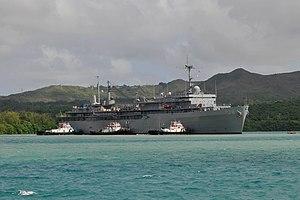 US Navy 111214-N-WG146-025 Submarine tender USS Emory S. Land (AS 39) prepares to moor.jpg