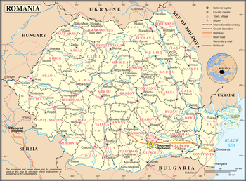 Románia közigazgatási térképe (teljes méret)