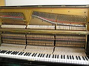 The mechanism in upright pianos is perpendicular to the keys.