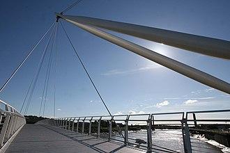 Newport City footbridge - Image: Usk Bridge image 2