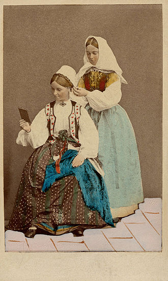 Exposition Universelle (1867) - Swedish folk costumes on display at the International Exposition in 1867.