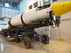 Meillerwagen - A V-2 rocket on a Meillerwagen at the Australian War Memorial's Treloar Technology Centre in September 2012