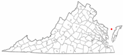 Location of Tangier, Virginia