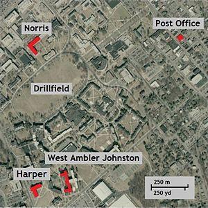 Virginia Tech shooting - Aerial photo showing location of Harper Hall (Cho's dorm), Norris Hall, West Ambler Johnston Hall, and the Blacksburg, Virginia, U.S. Post Office