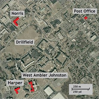 Virginia Tech shooting - Aerial photo showing location of Harper Hall (Cho's dorm), Norris Hall, West Ambler Johnston Hall, and the Blacksburg, Virginia, U.S. Post Office