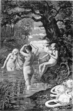 Therianthropy - Valkyries, having shed their swan skins, appear as swan maidens