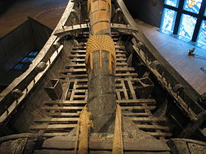 Head (watercraft) - The head on the beakhead of the 17th-century warship Vasa. The toilets are the two square box-like structures on either side of the bowsprit. On the starboard side, there are still minor remnants of the original seat.